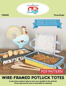 FQG145pdf Wire-Framed Potluck Totes Pattern - PDF PRintable