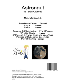 """Astronaut 18"""" Doll Clothes Sewing Pattern Back"""