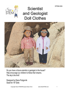 "Scientist and Geologist 18"" Doll Clothes Sewing Pattern-Downloadable"