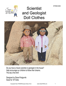 """Scientist and Geologist 18"""" Doll Clothes Sewing Pattern"""