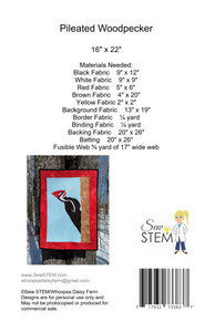 Pileated Woodpecker Quilt Pattern Back - Downloadable