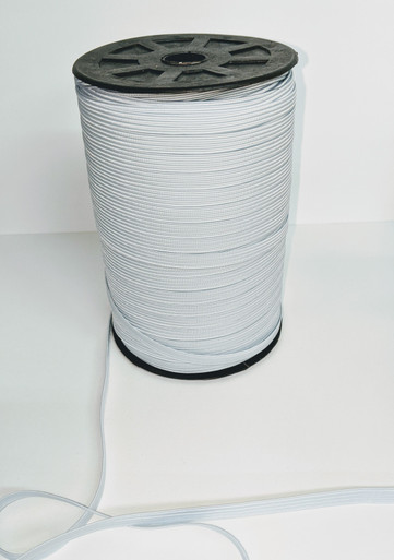 """1/4"""" braided elastic - White - sold by the yard"""