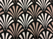 7/8 yard cut of black and taupe fans, Deco Ritz by Camelot Fabrics