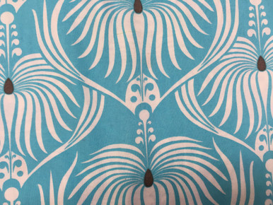 1-1/8 yard cut of turquoise dahlia, Deco Ritz by Camelot Fabrics
