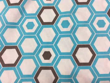 1/2 yard cut of turquoise hexagons, Deco Ritz by Camelot Fabrics