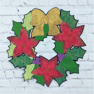 Lacy Poinsettia Wreath - Fabrics shown match kit.  Retreat From Home Project - Craft For The Holidays, 2020.