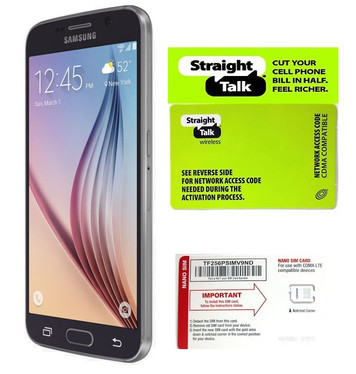 Samsung Galaxy S6 Black Sapphire 32GB Straight Talk (Verizon Towers) with SIM Card