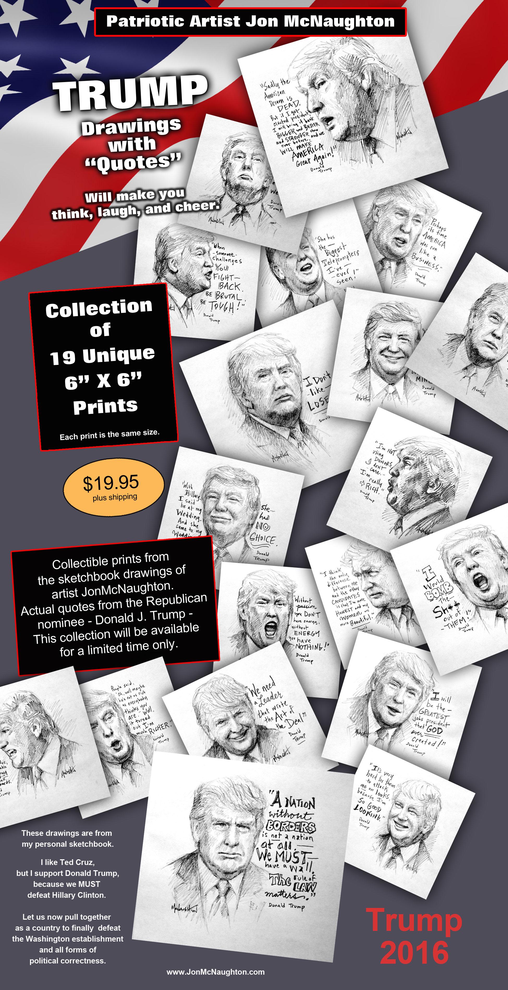 Patriotic Political Trump Drawings And Quotes Mcnaughton Fine Art