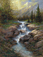 Mountain Cascade 28 x 35 - Giclee Canvas