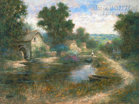 Watermill Pond 18 x 24 LE Signed & Numbered - Giclee Canvas