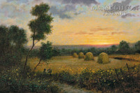 Haystacks at Dusk 24 x 36 LE Signed & Numbered - Giclee Canvas