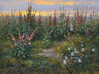 Among the Hollyhocks 20x30 LE Signed & Numbered - Giclee Canvas