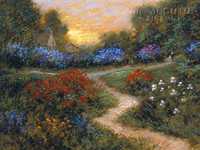 Evening in the Garden 18x24 LE Signed & Numbered - Giclee Canvas