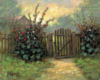 Hollyhock Gate 20x24 LE Signed & Numbered - Giclee Canvas