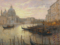 Gondolas on the Grand Canal 24x36 LE Signed & Numbered - Giclee Canvas