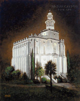 St George Temple at Night 16x20 LE Signed & Numbered - Giclee Canvas