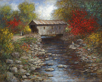 Old Covered Bridge 20x24 LE Signed & Numbered - Giclee Canvas