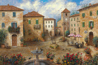 Tuscan Plaza 18x24 LE Signed & Numbered - Giclee Canvas