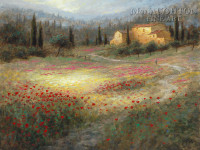 Umbrian Poppy Fields 24x30 LE Signed & Numbered - Giclee Canvas