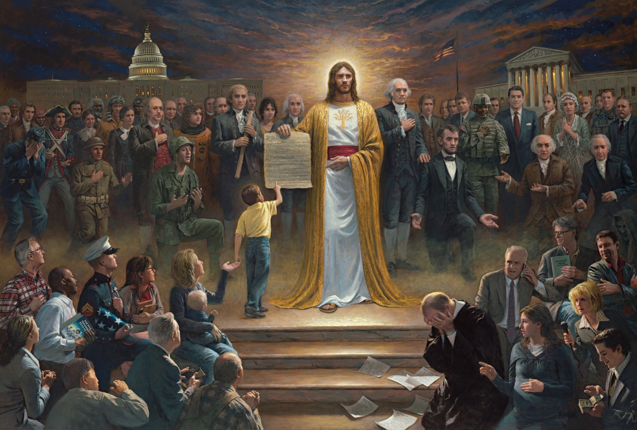 Jon McNaughton ONE NATION UNDER GOD Constitution Patriot Art 16x24 signed litho