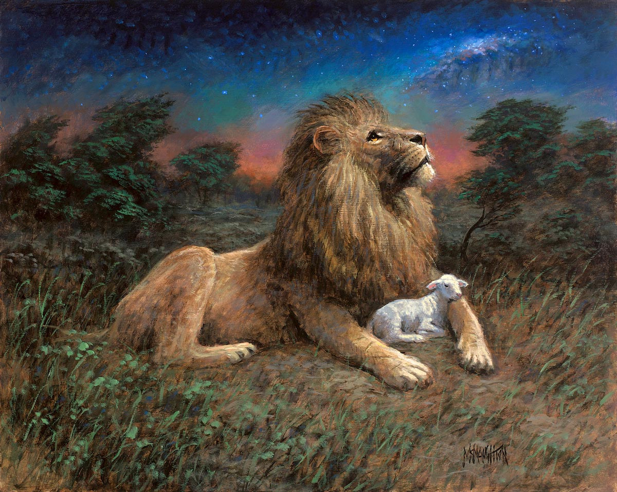 Lion And The Lamb Song Of Yahweh 11x14 Litho Print