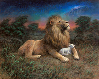 Lion and the Lamb - Song of Yahweh, 11x14 Litho Print