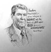 Ronald Reagan Sketch 1 - 12X12 inch litho, Limited Edition and Signed (75)