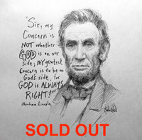Lincoln Sketch 1 - 12X12 inch litho, Limited Edition and Signed (25)