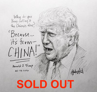 Trump China Sketch - 12X12 inch litho, Limited Edition and Signed (50)