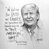 Trump Faith and Family Sketch - 12x12 inch litho, Limited Edition and Signed (75)