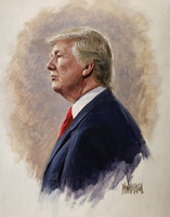 President Trump Portrait 2 12x16 Signed - Giclee Canvas