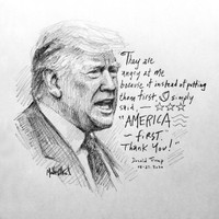 Trump Sketch 15 - 12x12 Litho, signed and numbered (50)