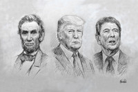 Three Great Presidents - 10x15 inch Litho Print