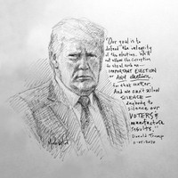 Trump Election Sketch 3 - 12x12 Litho, signed and numbered (50)