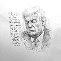 Trump Personality Sketch - 12x12 Litho, signed and numbered (50)