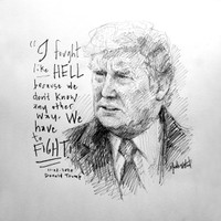 Trump Fight Like Hell Sketch - 12x12 Litho, signed and numbered (50)