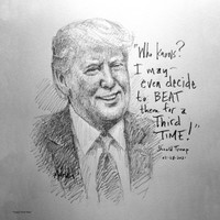 Trump Third Time Sketch - 12x12 Litho, signed and numbered (100)