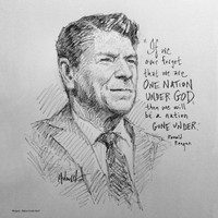 Reagan Nation Under God Sketch - 12x12 Litho, signed and numbered (100)