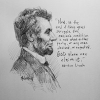 Lincoln - God Alone Sketch - 12x12 Litho, signed and numbered (100)