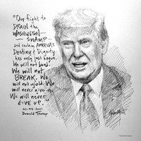 Trump Drain the Swamp Sketch - 12x12 Litho, signed and numbered (200)