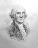 George Washington 4 Sketch - 12x12 Litho, signed and numbered (100)