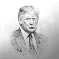 Donald Trump Portrait Sketch - 12x12 inch Litho, Limited Edition, Signed and Numbered (100)