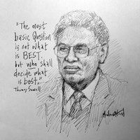 Thomas Sowell Sketch - 11x14 Inch Litho, Limited Edition, Signed and Numbered (25)