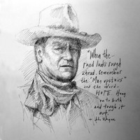 John Wayne Sketch (4)- 12x12 Inch Litho, Limited Edition, Signed and Numbered (150)