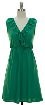 V-Neck Ruffle Front- Green