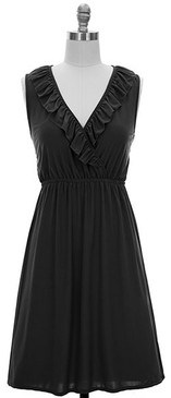 V-Neck Ruffle Front- Black