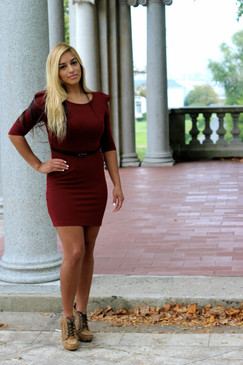 Slim fit puff shoulder dress - Wine