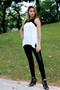 Sleeveless Tunic Top -Ivory/Black (8054) worn together with Stretch Faux Leather Pant - Black (style#5007B). Pant sold separately.