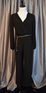 Long Sleeve Black Chiffon Jumpsuit with Metallic Belt