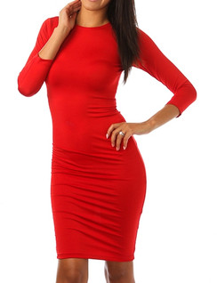 Red Solid Body Con Dress
